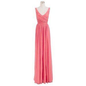 JCrew $365 Silk Chiffon Heidi Gown Bright Coral